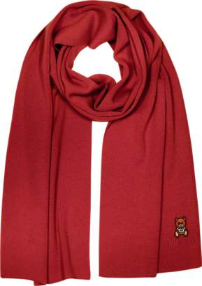 Moschino Teddy Bear Knitted Wool Long Scarf