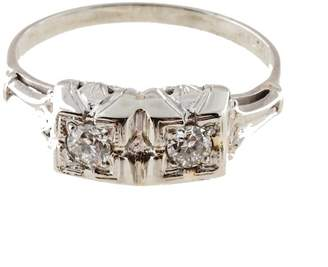 Vintage 14K White Gold with Diamond Double Square Top Art Deco Engagement Ring Size 7.25