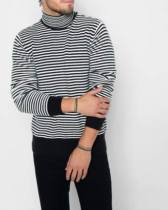 7 For All Mankind Striped Turtleneck Sweater in Ivory