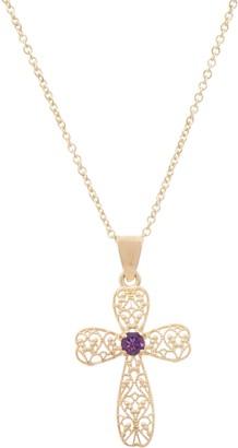"ADI Paz 14K Gold Gemstone Cross Pendant w/ 18"" Chain"