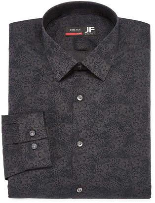 Jf J.Ferrar Easy Care Stretch Big And Tall Long Sleeve Broadcloth Animal Dress Shirt