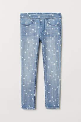 H&M Patterned Denim Leggings - Blue