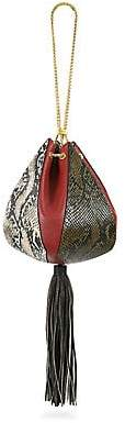 THE VOLON Women's The New Old Things Cindy Snake-Embossed Leather Pouch