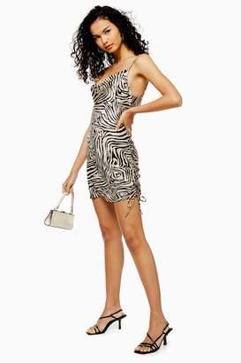 Topshop Womens Animal Print Ruched Slip Dress - Stone