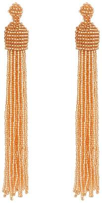 Kenneth Jay Lane Champagne Bead Tassel Direct Post Ear Earrings Earring