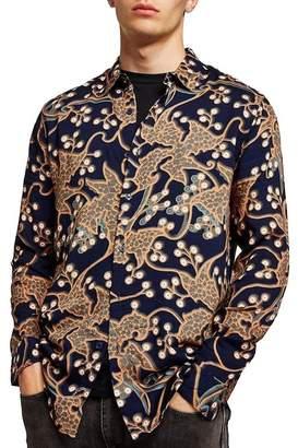 Topman Long Sleeve Multi Print Classic Fit Shirt