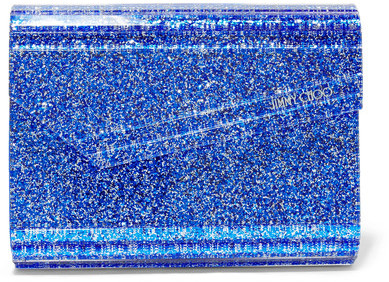 Jimmy Choo Jimmy Choo - Candy Suede-trimmed Glittered Acrylic Clutch - Bright blue