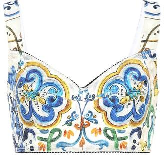 Dolce & Gabbana Cotton-blend printed crop top
