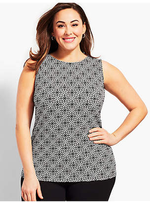 Talbots Plus Size Exclusive Tile Knit Jersey Shell