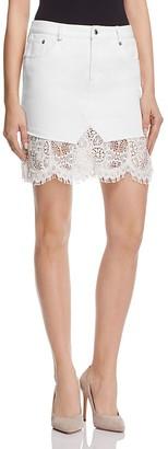 McQ Alexander McQueen Short Denim Lace Hybrid Skirt $480 thestylecure.com
