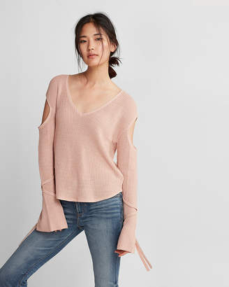 Express Tie Sleeve Cut-Out Pullover Sweater