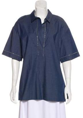 St. John Short Sleeve Collared Top w/ Tags