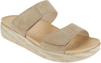 a7814647e508 Alegria Suede Adjustable Slide Wedge Sandals - Mixie