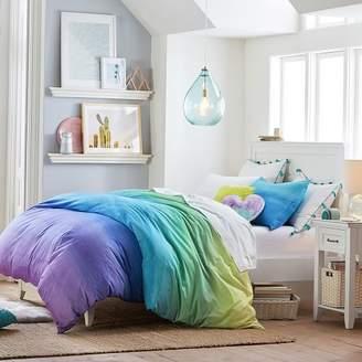 Pottery Barn Teen Organic Watercolor Rainbow Duvet Cover, Twin/Twin XL, Cool Multi