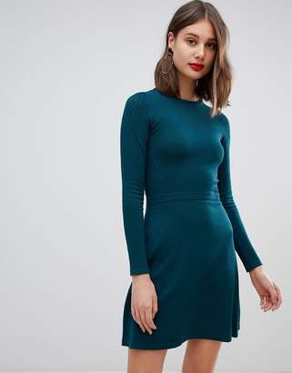 Warehouse pointelle knitted dress in bottle green
