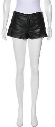 LaMarque Collection Laser-Cut Leather Shorts