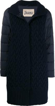 Herno knitted front padded zip-up coat