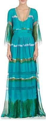 Alberta Ferretti WOMEN'S TIE-DYED SILK LONG DRESS
