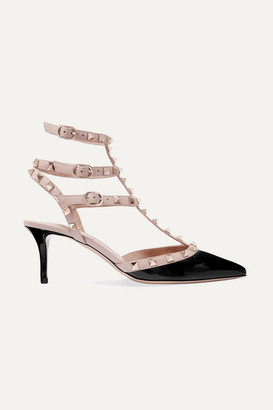 Valentino Garavani The Rockstud 65 Patent-leather Pumps - Black