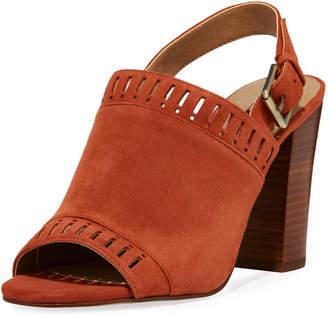 Tahari Cutout Suede Slingback Sandals, Red
