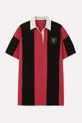 Alexander Wang Oversized Embellished Striped Cotton-jersey Polo Shirt - Red