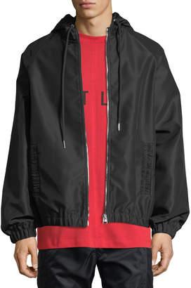 Helmut Lang Gathered-Trim Sateen Track Jacket