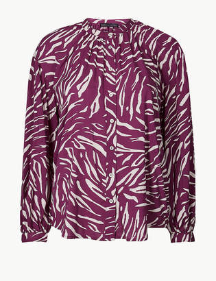 Marks and Spencer Animal Print Long Sleeve Blouson Blouse