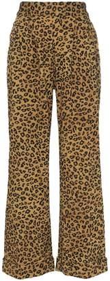 Mara Hoffman Caressa leopard print high-waisted wide leg trousers