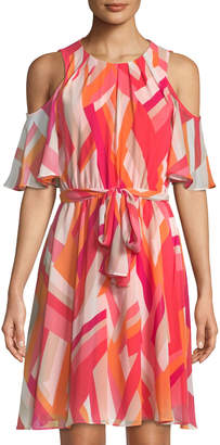 Iconic American Designer Cold-Shoulder Abstract Chiffon Dress