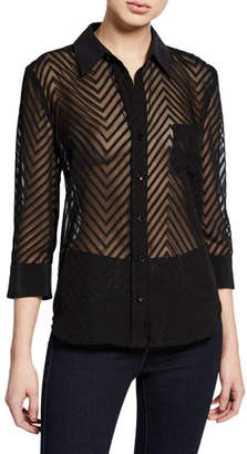 L'Agence Ryan Chevron Button-Down 3/4-Sleeve Sheer Blouse
