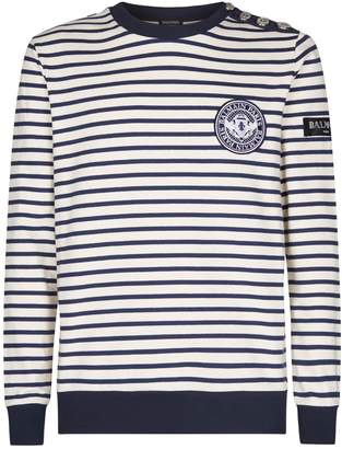 Balmain Button Shoulder Stripe Sweatshirt