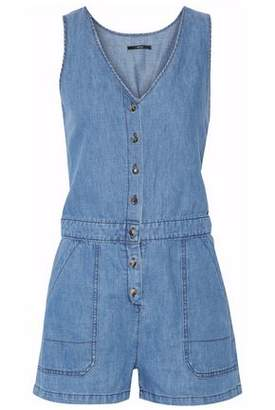 J Brand Cotton And Linen-Blend Chambray Playsuit