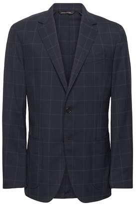 Banana Republic Standard Navy Smart-Weight Performance Wool Blend Suit Jacket