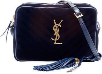 Saint Laurent Lou Medium Monogram Quilted Velvet Crossbody Bag