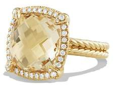 David Yurman Châtelaine Pavé Bezel Ring with Champagne Citrine and Diamonds in 18K Gold