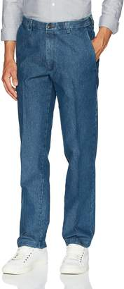 Haggar Men's Stretch Denim Expandable Waist Classic Fit Flat Front Pant