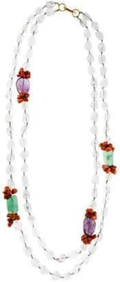 Iradj Moini Rock Crystal, Fluorite & Coral Double Strand Necklace Gold Rock Crystal, Fluorite & Coral Double Strand Necklace
