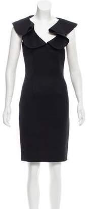 Fendi Ruffled-Trimmed Knee-Length Dress Black Ruffled-Trimmed Knee-Length Dress