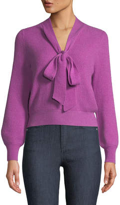 Co Tie-Collar Ribbed Cashmere Knit Pullover Sweater