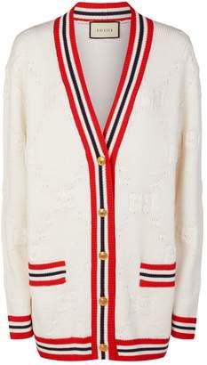 Gucci Stripe Trim GG Knit Cardigan