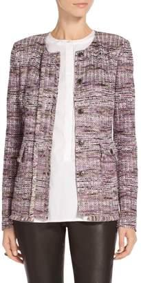St. John Anna Woven Stripe Knit Front Placket Jacket