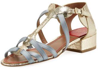 Laurence Dacade Woven Satin & Metallic Leather Sandal