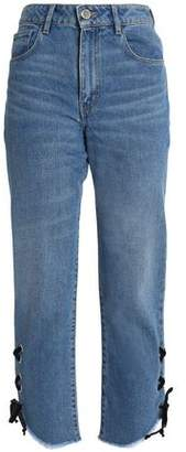 Maje Lace-up Faded High-rise Straight-leg Jeans