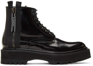 Givenchy Black Patent Camden Utility Boots