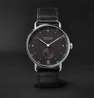 NOMOS Glashütte Metro Datum Stadtschwarz 38mm Stainless Steel And Leather Watch