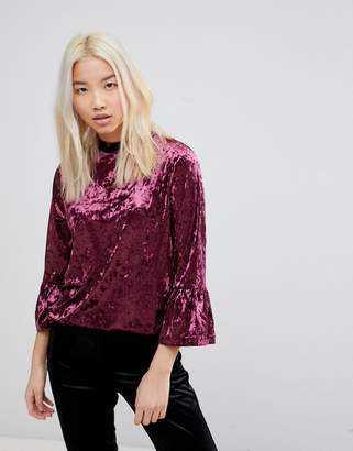 B.young Fluted Sleeve Velvet Top