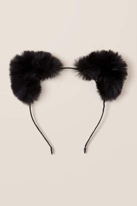 francesca's Ava Faux Fur Cat Ear Headband - Black