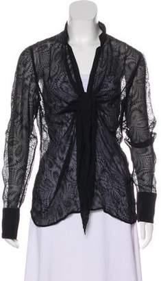 Giorgio Armani Silk-Blend Structured Blouse Black Silk-Blend Structured Blouse