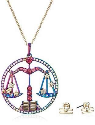 Betsey Johnson Women's Libra Zodiac Necklace and Earrings Set