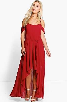 boohoo Plus Chiffon Frill Open Shoulder Dress